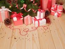 Contenitori di regalo, giocattolo di Natale Fotografia Stock