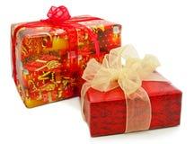 Contenitori di regalo isolati su un bianco Fotografia Stock Libera da Diritti