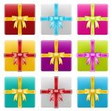 Contenitori di regalo, nastro, celebrazione Immagini Stock Libere da Diritti