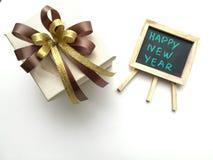 Contenitori di regalo per il nuovo anno di anniversario Fotografia Stock