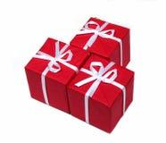 Contenitori di regalo rossi Fotografie Stock