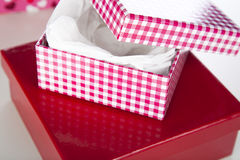 Contenitori di regalo rossi e bianchi Immagini Stock