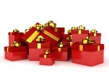 Contenitori di regalo sopra priorità bassa bianca Immagini Stock Libere da Diritti