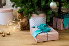 Contenitori di regalo sotto l'albero di Christmass Immagini Stock Libere da Diritti