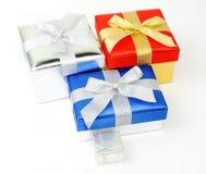 Contenitori di regalo su bianco Fotografie Stock Libere da Diritti