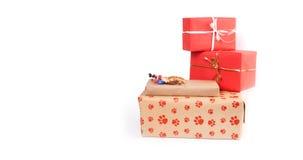 Contenitori di regalo su bianco Immagine Stock Libera da Diritti