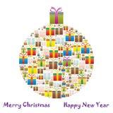 Contenitori di regalo in un albero di Natale Royalty Illustrazione gratis