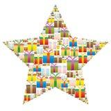Contenitori di regalo in una stella di Natale Illustrazione di Stock