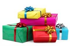 Contenitori di regalo variopinti Fotografia Stock