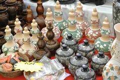 Contenitori di stoccaggio malesi tradizionali dell'acqua o Labu Sayong Fotografie Stock