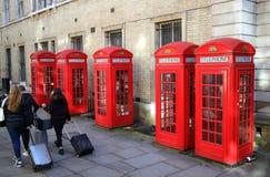 Contenitori di telefono rossi Fotografia Stock