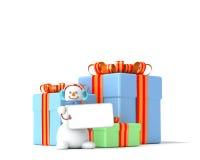 Contenitori e pupazzo di neve di regalo Immagini Stock