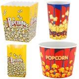 Contenitori e sacchetto di popcorn Fotografie Stock