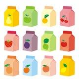 Contenitori isolati di scatola del succo di frutta Fotografia Stock