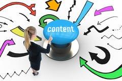 Content against blue push button Stock Images
