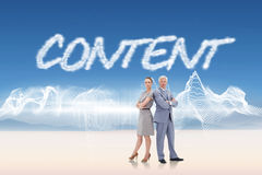 Content against energy design over landscape Royalty Free Stock Image