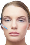 Content beautiful model having botox injection above the lips Royalty Free Stock Image