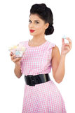 Content black hair model holding candies Royalty Free Stock Images
