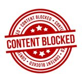 Content blocked red Grunge Stamp. Eps10 Vector Badge royalty free illustration