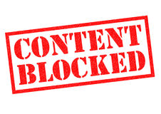 CONTENT BLOCKED. Red Rubber Stamp over a white background Stock Photography