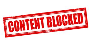 Content blocked. Stamp with text content blocked inside,  illustration Stock Photo