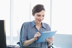 Content businesswoman working with her tablet Stock Images