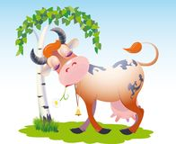 Content cartoon cow. Colorful cartoon illustration of a content cow standing with its head against the trunk of a tree Stock Images