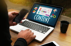 CONTENT CONCEPT  data Blogging Media , Journalism Global Daily N Royalty Free Stock Images