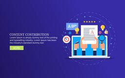 Content contribution, creating blog post for online magazine, content creation and publishing. Modern concept of content development, publication and marketing royalty free illustration