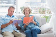 Content couple reading books on the couch Stock Images