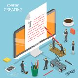 Content creating flat isometric vector concept. Group of people are creating a text at the document that is sticking out of the PC monitor stock illustration