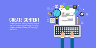 Content creation, development, writing, publication and promotion concept. Flat design content marketing banner. Businessman creating new content for better vector illustration