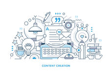Content Creation Line Illustration. Line style concept of creating digital and traditional content. Abstract  illustration Royalty Free Stock Photo