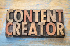 Content creator  words in wood type. Content creator - word abstract in vintage letterpress wood type printing blocks Stock Photos