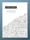 Content Curation - line design brochure poster template A4 Royalty Free Stock Images
