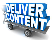 Content delivery. Concept, deliver content on a cart, little 3d man giving it a push vector illustration