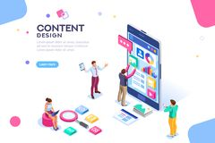 Content Design for Mobile Interface. Software infographics, code place, idea for designer content. UI design concept with character and text. Programming seo stock illustration
