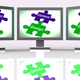 Content Design Puzzle Screen Shows Promotional Material And Layo Stock Photos
