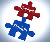 Content Design Puzzle Shows Promotional Material And Layout Royalty Free Stock Images