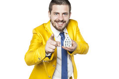 Content developer invites you to buy a home. Business man Stock Photos