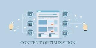 Content optimization, seo, search marketing, social media sharing concept. Flat design vector illustration. Royalty Free Stock Photo