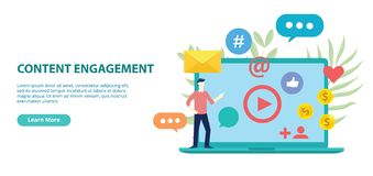 Content engagement website design template banner with flat style vector illustration