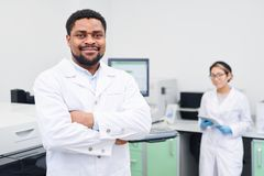 Content experienced African-American medical scientist royalty free stock image