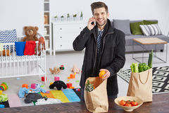 Content father with shopping bags Stock Photos