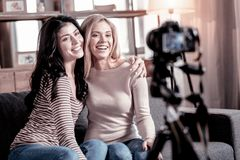 Content female vloggers recording a video royalty free stock photos