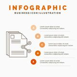 Content, files, sharing, share, document Infographics Template for Website and Presentation. Line Gray icon with Orange. Infographic style vector illustration royalty free illustration