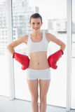 Content fit brown haired model in sportswear wearing boxing gloves Stock Image