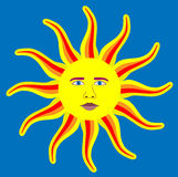 Content and Happy Sun. Content and happy sun with long, colorful sunrays pointing in every direction. This is an illustration of a satisfied sun with realistic Royalty Free Stock Image