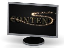 CONTENT Inscription on monitor from metal letters Stock Image