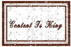 CONTENT IS KING brown square distressed stamp. Illustration image Royalty Free Stock Photography